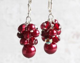 Dark Red Earrings, Red Cluster Earrings on Silver Hooks, Burgundy Earrings, Bridesmaid Jewelry Gift