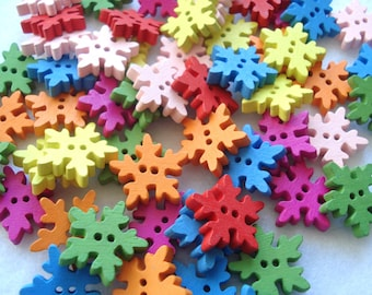 18mm Snowflake Shape Wooden Buttons, Pack of 30 Mixed Colours Snowflake Buttons, Half-Price Buttons!! CR24