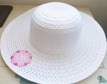 Gardening hat for crafts, white hat, paper hat, standard size women's hat, new with tags, craft hat, crafting, wall hanging hat, gardening