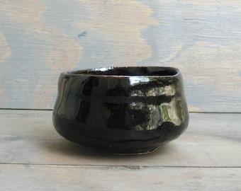 Tea bowl, Tenmoku-glaze, teacup, handmade, stoneware, Wabisabi