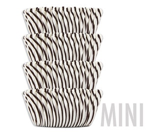 Mini Black Candy Stripe Baking Cups - black striped cupcake liners, cupcake papers
