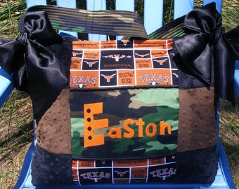 Texas Long Horn Diaper Bag Black and Brown with camouflage as the template burnt orange