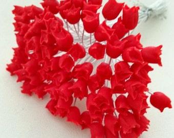 100 pcs. head FLOWER STAMENS red color 0.7 cm.,stamens flower,wired millinery flower stamens,floral stamens,pollen flower