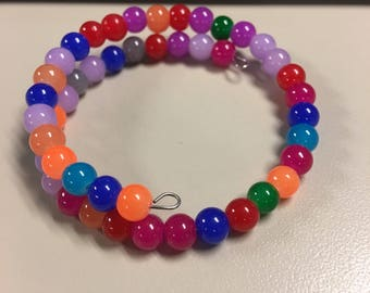 Fun brightly colored beaded bracelet