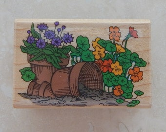 Flowers and Flower Pots Rubber Stamp by Hero Arts  --  Hero Arts Rubber Stamp C974 Flowers and Flower Pots