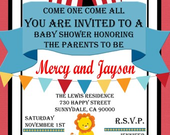Circus Themed Baby Shower/ Birthday Party Invitation/Can be done in Spanish