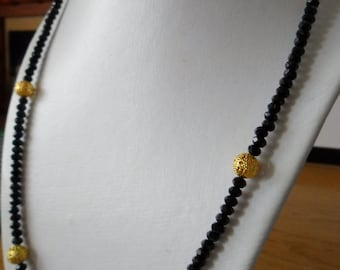 Long black and gold beaded necklace simple medium