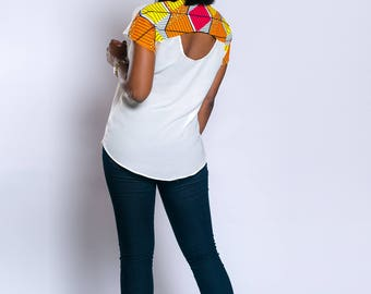 Chiffon and Ankara combination top, African print top, African clothing, Ankara top, Ankara clothing, White top