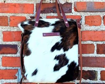 Longhorn Fur On Genuine Leather Cross Body Tote