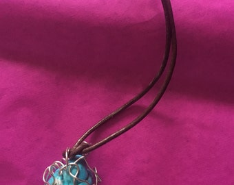 Handmade Turquoise Wire Wrapped Necklace