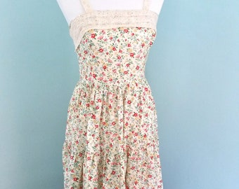 Floral Gunne Sax Style Prairie Dress Vintage Cream Lace With Matching Shawl