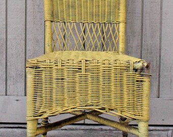 Antique Wicker Indoor Outdoor Side Chair // Yellow Wooden Heavy Wear //  Garden Furniture // Free California Local Pick Up