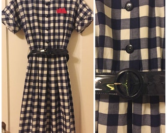Vintage Willi Of California 100% Cotton Belted Dress, Retro Navy And White Checker Dress By  Willi Of California.