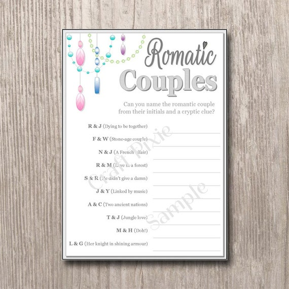 Romantic Couples Quiz Chandelier Instant PDF Download