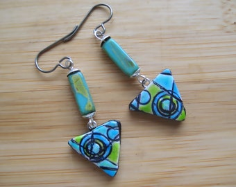 Polymer Clay Glazed Abstract Triangle Earrings. Titanium Ear Wires for sensitive ears. Abstract/Bohemian/Retro/Artisan