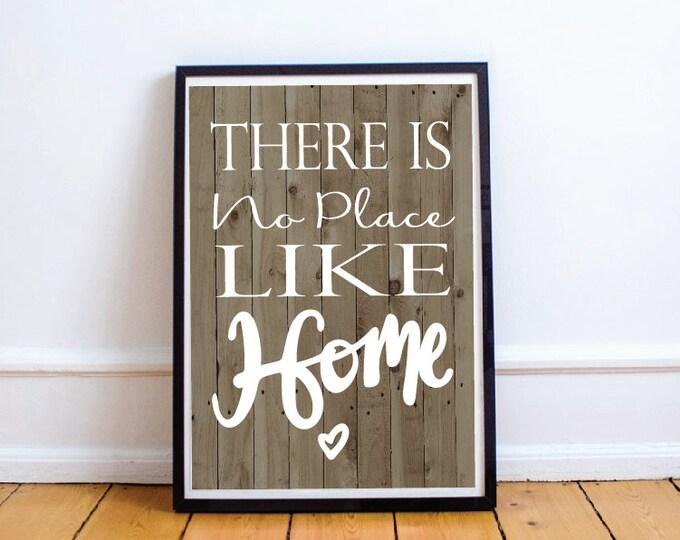 Quote Print, Home Printable, Wall Print, Digital Download, Prints, No Place Like Home