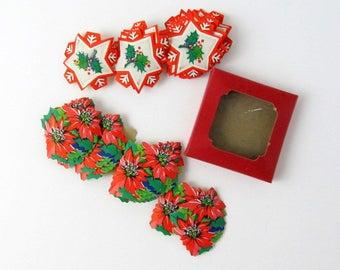Antique Christmas Dennison Box of 40 Seals, Old Collectible Paper Ephemera, Holiday Decor, Poinsettias, SnowflakeStickers Labels