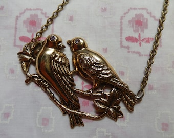 Two Large Birds Doves Love Birds on a Branch Charm Pendant Necklace