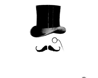 Bertie, Victorian Top hat moustache WickedlyLovely Skin Art TemporaryTattoo (includes 2 tattoos)