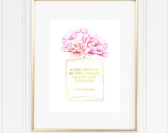 Coco Chanel Quote Perfume Print, A Girl Should Be Two Things Classy And Fabulous,