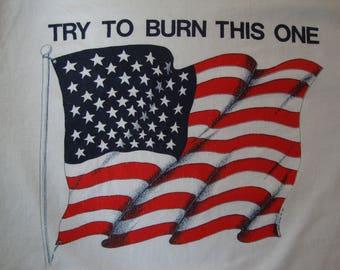Vintage 80's POW*MIA 4th Of July Patriotic American Flag White T Shirt Size L