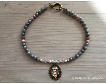 Labradorite and rhodonite Frida Kahlo necklace