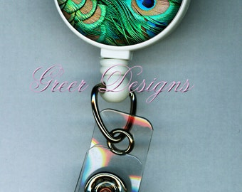 Peacock Feather Green Badge Holder ID  Teacher Designer Gift Retractable Reel Clip