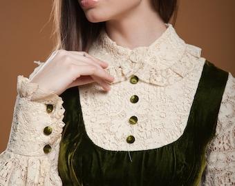 pinafore prairie maxi dress empire green velvet cream crochet lace peter pan collar long sleeves vintage 70s SMALL S