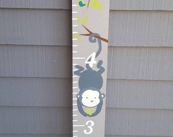 Monkey Decor, Paisley Decorations, Gray Monkey, Custom Growth Chart, Decorated Room Decor, Oversized Ruler, Kid's Decor, Baby Shower Gift
