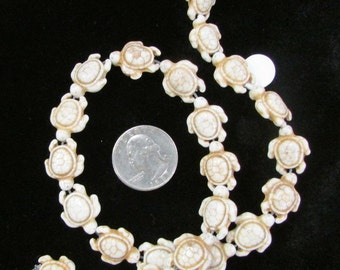 Magnesite White Sea Turtle Beads