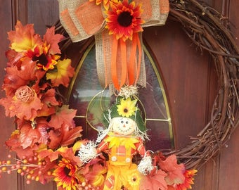 Autumn  large Harvest~Wreath~Halloween~Scarecrow~Decor~Orange~