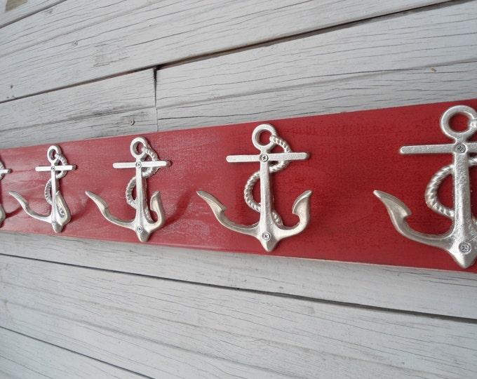 anchor hooks Nautical beach decor Beach House Dreams towel rack coat hooks mudroom foyer guest room bathroom accessories decorating idea OBX