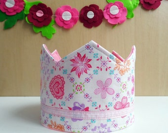Fabric crown, Birthday Crown, Princess Crown, Party Crown, Felt Crown, Adjustable Size, Kids Birthday Gift, Girls Crown, Felt Party Hat