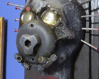 PTSD Dystopian Faux Metal Original sculpture by TW Klymiuk