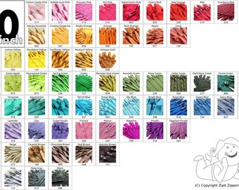 20 Inch Mix and Match YKK Zippers Choose Your Own Colors- 5 pcs
