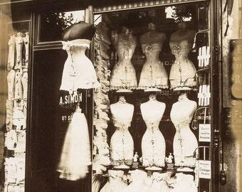 Eugene Atget photo, Corset Shop, Paris 1910-1920