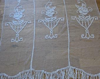 French handmade lace curtain, fringed filet lace drape