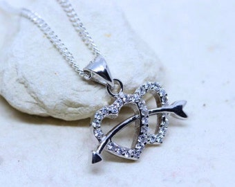 Heart Arrow Necklace. silver Double Heart and Arrow Necklace, Cupid Arrow Necklace. Arrow and heart jewelry. silver Heart