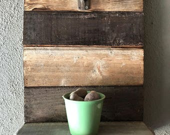 Salvaged Teak Chair and tongue and Groove reclaimed wood plant stand.