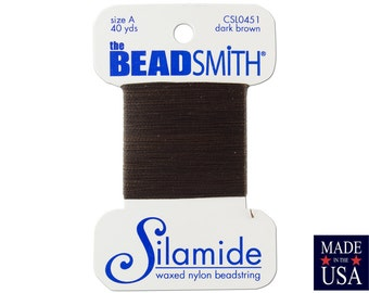 Dark Brown Silamide Waxed Nylon Beadstring Size A (40 Yards) CSL0451
