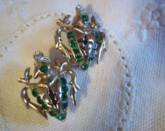 Vintage Crusader Coat of Arms Pins French Fleur de Lis Faux Emerald & Clear Rhinestones 1940's Royalty Renaissance Armour Shield Knights