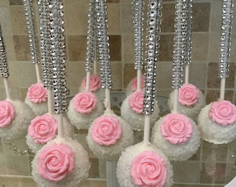 White Sparkling Sprinkle Cake Pops with Edible Pink Rose