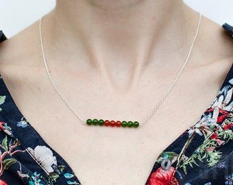 Sterling silver, jadeite green and dark orange beads. Silver chain jade necklace. Summer green and orange pendant. Delicate necklace.