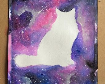 Cat silhouette watercolour galaxy painting