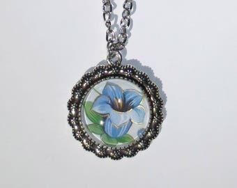 Blue Trumpet Flower, Pendant, Necklace, Glass Dome Pendant, Vintage Floral Print, Handmade, OOAK, Floral Necklace, Handmade Jewelry