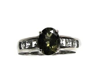"Moldavite ring, moldavite accent ring, multistone ring, engagement ring, green silver, s 7 ""Electric Planet"""