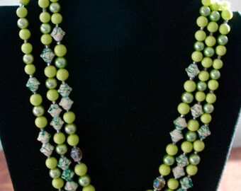 "Vintage Multi Strand Lime Green Bead Necklace & Earrings - Demi Parure - ""Lime Sherbert"" - SALE"