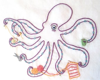 Crafty Octopus Hand Embroidery Pattern PDF