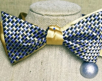 Fully Reversible Cloth Bow Tie (Blue, silver, blue, black)