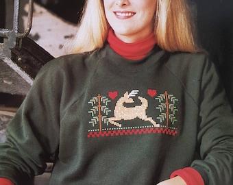 Cross Stitch Pattern for Christmas Shirt - Reindeer Cross Stitch Chart - SKU CS5